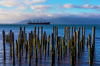 Photograph - Cargo Ship And Old Pier Posts by Garry Gay