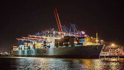 Photograph - Cargo Ship At Night by Daniel Heine