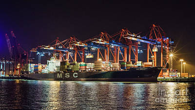 Photograph - Cargo Ship At Port Of Hamburg by Daniel Heine