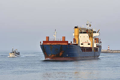 Photograph - Cargo Ship Figueira Da Foz Portugal by Marek Stepan