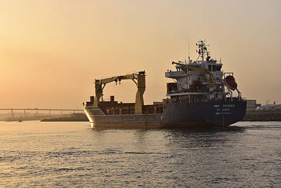 Photograph - Cargo Ship In Harbor by Marek Stepan