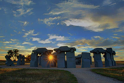 Star Alliance Photograph - Carhenge - Nebraska - Sunset by Nikolyn McDonald