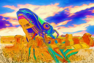 Digital Art - Carhenge Salmon by Mike Braun