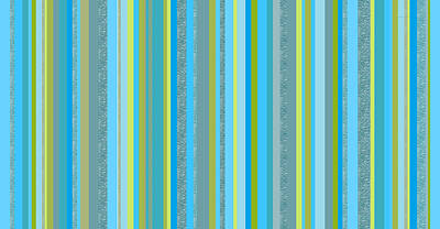 Digital Art - Caribbean Blue Decorative Stripe by Val Arie