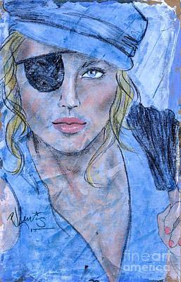 Female Pirate Painting - Caribbean Blue by P J Lewis