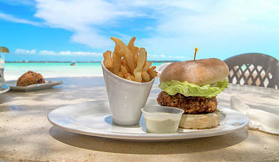 Beach Royalty-Free and Rights-Managed Images - Caribbean Conch Burger by Betsy Knapp