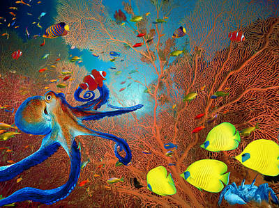 Digital Art - Caribbean Coral Reef by Sandra Selle Rodriguez