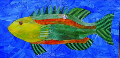 Stained Glass Fish Glass Art - Caribbean Grouper by Charles McDonell