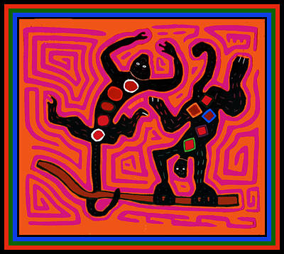 Digital Art - Caribbean Playful Monkeys by Vagabond Folk Art - Virginia Vivier