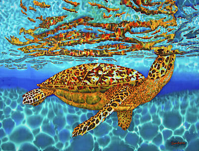 Sea Turtles Painting - Caribbean Hawksbill Sea Turtle by Daniel Jean-Baptiste