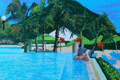 Infinity Pool Painting - Caribbean Infinity Pool by Margaret Brooks