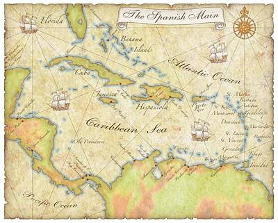 Digital Art - Caribbean Map - Good by Sample
