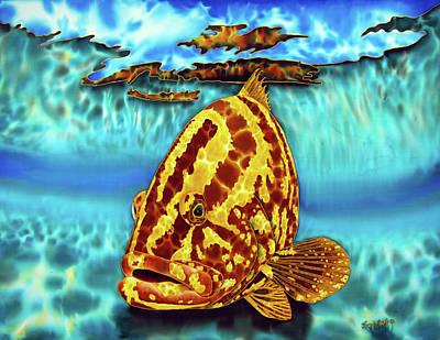 Silk Painting - Caribbean Nassau Grouper  by Daniel Jean-Baptiste