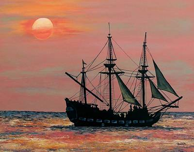 Sunset Painting - Caribbean Pirate Ship by Susan DeLain