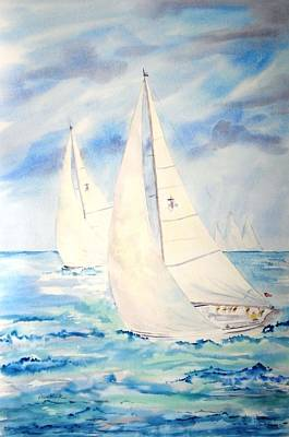 Painting - Caribbean Racing by Diane Kirk