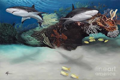Painting - Caribbean Reef Sharks by Alan Feldmesser