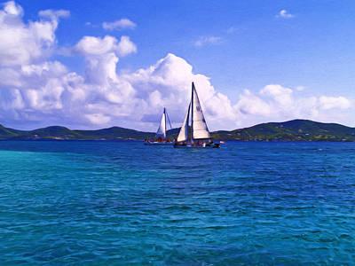St. Croix Painting - Caribbean Sailing by Linda Morland