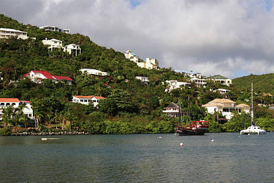 Sint Maarten Photograph - Caribbean Saint Martin Hillside And Tugboat by Toby McGuire