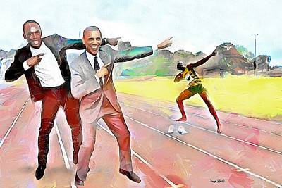 Painting - Caribbean Scenes - Obama And Bolt In Jamaica by Wayne Pascall