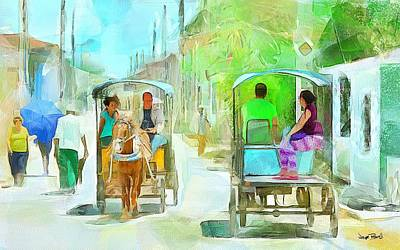 Painting - Caribbean Scenes - Carriage Ride by Wayne Pascall