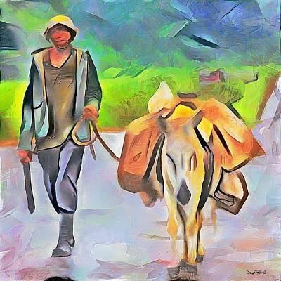 Painting - Caribbean Scenes - Country Donkey Help by Wayne Pascall