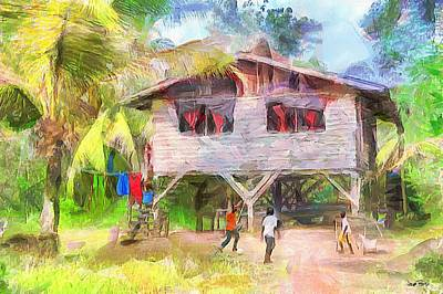 Painting - Caribbean Scenes - Country House by Wayne Pascall