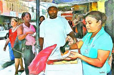 Painting - Caribbean Scenes - Doubles Vendor by Wayne Pascall