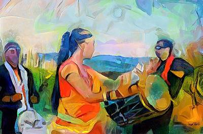 Painting - Caribbean Scenes - Indian Dance And Tassa by Wayne Pascall