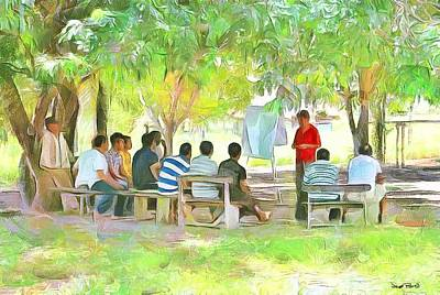 Painting - Caribbean Scenes - Meeting Under De Tree by Wayne Pascall