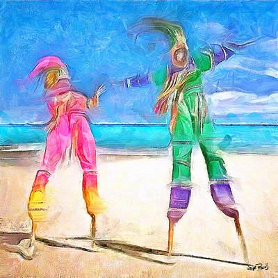 Caribbean Scenes - Moko Jumbie Art Print by Wayne Pascall