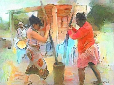 Painting - Caribbean Scenes - Mortar And Pestle In De Country by Wayne Pascall