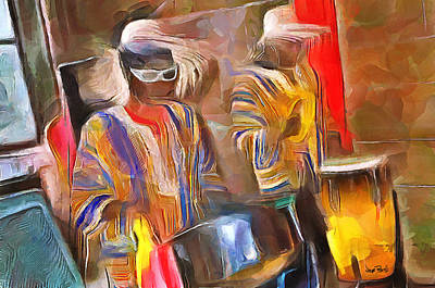 Caribbean Scenes - Pan And Drums Art Print by Wayne Pascall