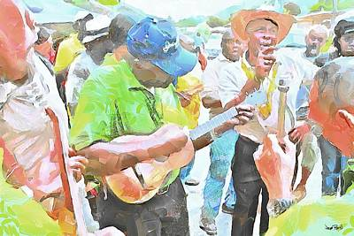 Painting - Caribbean Scenes - Parang Musicians by Wayne Pascall