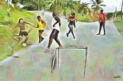 Caribbean Scenes - Small Goal In De Street Art Print