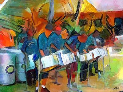 Painting - Caribbean Scenes - Steel Band Practice by Wayne Pascall