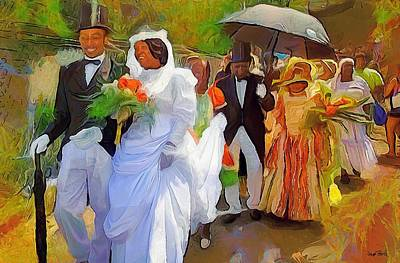 Painting - Caribbean Scenes - Tobago Ole Time Wedding by Wayne Pascall