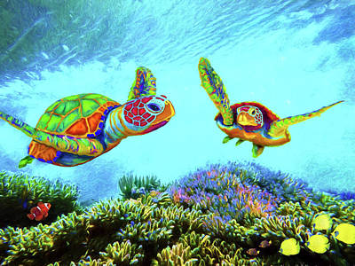 Digital Art - Caribbean Sea Turtle And Reef Fish by Sandra Selle Rodriguez