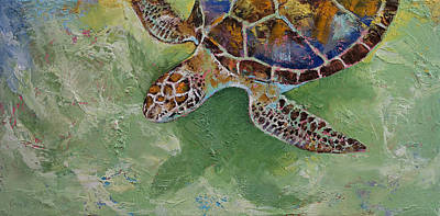 Turtle Painting - Caribbean Sea Turtle by Michael Creese