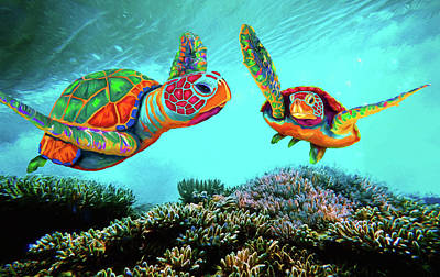Painting - Caribbean Sea Turtles by Sandra Selle Rodriguez