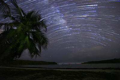 Caribbean Star Trails And Milky Way Art Print by Karl Alexander