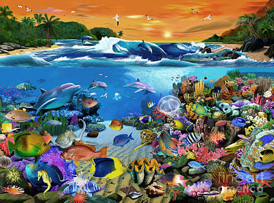 Tropical Fish Digital Art - Caribbean Sunset by Gerald Newton