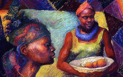 Painting - Caribbean Women With Oranges by Ellen Dreibelbis