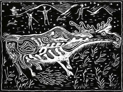 Aleut Digital Art - Cariboo Passing Through by Lois Chichinoff Thadei