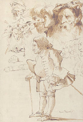 Drawing - Caricature Of A Gentleman And Other Studies by Giovanni Domenico Tiepolo