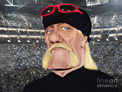 Mixed Media - Caricature Of Wrestling Legend Hulk Hogan by Jim Fitzpatrick