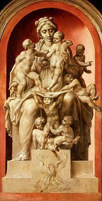 Carita Painting - Caritas. Grisaille by Maerten van Heemskerck