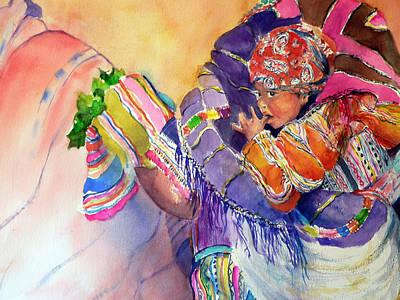 Central America Mixed Media - Carjando Mi Nina by Myra Evans