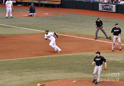 Photograph - Carl Crawford - Stealing Second by John Black