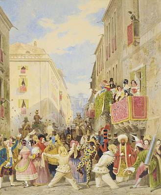 Male Painting - Carl Friedrich Heinrich Werner   1808   1894  Carnaval In Rome by Carl Friedrich Heinrich Werner