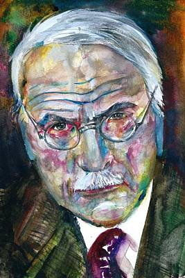 Painting - Carl Jung - Watercolor Portrait.7 by Fabrizio Cassetta
